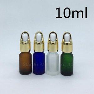 Travel Bottle 10ml Amber Green Blue Transparent Frosted Glass Essential Oil Bottle, 10cc Perfume Dropper 12pcs lot Storage Bottles & Jars