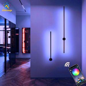 Minimalist RGB Wall Lamp Modern Nordic App Control Background Light Indoor Sconce Lighting For Living Room bedroom LED Bedside Lamps Decor