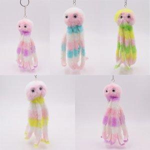 Kimter Plush Cute Octopus Key Rings jewelry Bag Charm Pendant Fluffy Animal Keychain Holder Fashion Children Doll Toys Free DHL P426FA