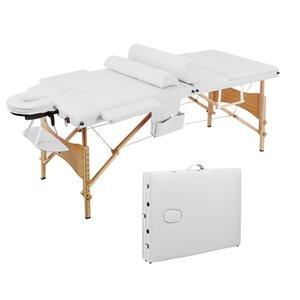 WACO Folding SPA Bed, 3 Sections Massage Table Salon Furniture, Aluminum Tube Adjustable Headrest, Facial Beauty Body Building Set,28