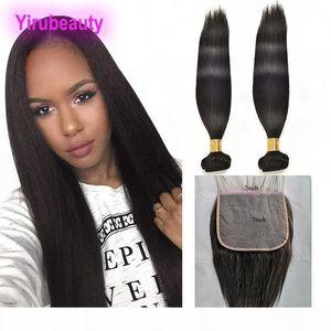Индийские сырые человеческие волосы необработанные прямые наращивания волос с 7x7 кружевной закрытие прямые индийские волосы девственницы с 7 на 7 закрытия