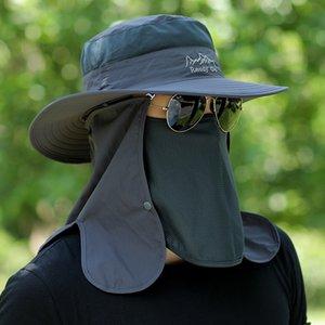 Hombre verano al aire libre anti ultravioleta pesca Pescador de pesca cubriendo cara de sol sombrero