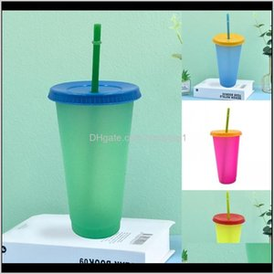 Circle Color Changing Cup Clear Plastic With Lid Tumbler Reusable Straw Coffee Mugs Temperature Sensing Fashion Outdoor 5Hb B2 Vcx3K Ig09N