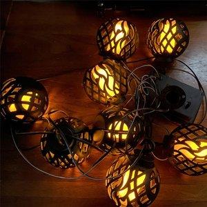 Strings LED Solar Flame Lanterns Outdoors Garden String Lights Waterproof Hanging Lantern Flickering Lamp For Patio Decor