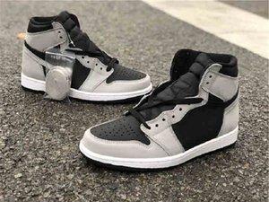 1 ارتفاع og shadow 2.0 أسود رمادي كرة السلة أحذية الرجال النساء 1s ضوء الدخان سنيكرز 555088-035