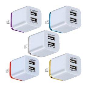 Dual USB الجدار شاحن محول المنزل 2.1A 1A ac الولايات المتحدة الاتحاد الأوروبي التوصيل سفر السلطة شاحن ل فون سامسونج غالاكسي هواوي LG باد