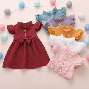 2021 Princess Toddler Kids Baby Girl Dress 1-6Y Solid Linen Button Ruffle Sleeve Turn Down Collar Bow Party A-Line Dress Clothes
