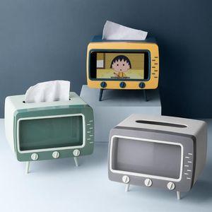 Tissue Boxes & Napkins Multifunction Creative TV Box Desktop Paper Dining Bar Holder Dispense Storage Mobile Phone Napkin Case Organizer