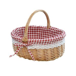 Storage Baskets Hand Woven Picnic Bag Gift Basket Wicker Linen Inner For Use Size (Primary Color Red Plaid Fabri