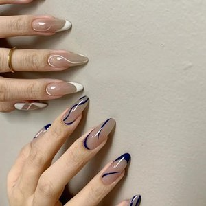 False Nails Fashion 24pcs Box Detachable Wave Long Almond Wearable Fake Full Cover Press On Nail Tips Manicure Decoration