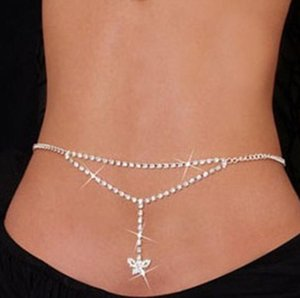 Sexy Strass Schmetterling Bauchketten Silber Körper Schmuck Für Frauen Strand Bikini Cystal Taille Untere Back Kette