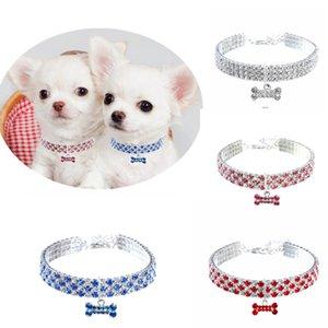 Bling Diamond Dog Hollars Crystal Puppy Pet Bliany Полный горный хрусталь Сплошные ожерелье Размер для маленьких собак Воротник Домашние животные Поставки WLL498