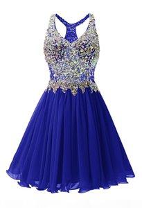 Perlé Crystal V Cou Homecoming Robes Boutique Longueur du genou 2019 Robes de soirée courtes pour robes de bal d'anniversaire