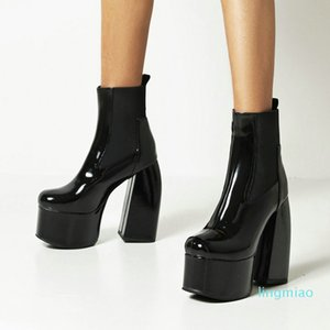 fashion-Dress Shoes Sexy Super High Heel Platform Ankle Boots Fashion Patetn Leather Women Autumn Winter Slip On Chelsea Woman