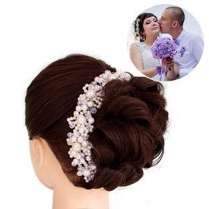 Getnoivas Crystal Pearl Handmade повязки для повязки Bridal Tiara короны для волос головы головки ювелирные изделия женщины свадебные аксессуары для волос SL