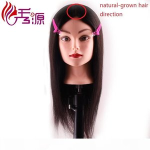 100% Human Hair Natural Black Training Hairdressing Doll Mannequins Training Head Natural-grown Hair Direction Processional Styling Head
