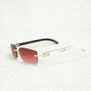 Rhinestone vintage Natural Buffalo Horn Gafas de sol sin llanta Hombres Madera Plaza Sun Glasses Mujeres para tonos al aire libre Oculos gafas