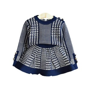 Girls Sweater Sets Kids Clothing Baby Clothes Outfits Autumn Winter Knitting Patterns Sweaters Tops Short Skirts Children Suits 2Pcs B8366