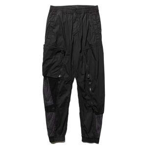 TOPSTONEY Summer mesh ventilation couple casual pants loose, pure black fashion men's sports jogging tide brand