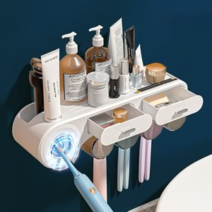 Wall Mounted Toothbrush Holder Automatic Toothpaste Squeezer Dispenser Home Punch-free Organizer Bathroom Accessories