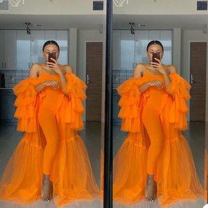 Fashion Pregnant Sleepwear Orange Women Dress Sexy Photograph Off Shoulder Robes Tiered Ruffles Gown Bathrobe Sleep Nightdress