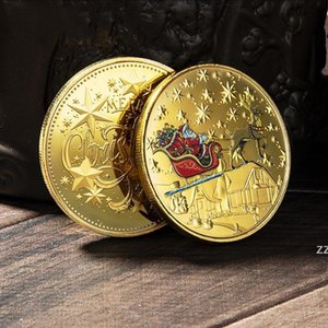Santa Commemorative Gold Coins Decorations Embossed Color Printing Snowman Christmas gift Medal Wholesale HWD10434