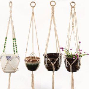 Вешалки для завода MACRAME Цветочные горшки Держатель веревки висит висит плантатор корзина дома творческий сад декор 8 дизайнов опционально RRD7305
