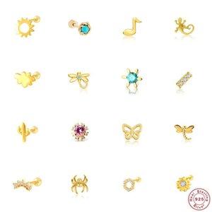 Sterling Silber Türkis Diamant Ohrring Für Frauen Niedliche Tier Libelle Kaktus Cloud Ohr Fein Schmuck Geschenk