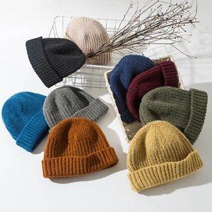 Moda Masculino Beanie Winter Knit Hat Boy Skullcap Sailor Cap Buffs Retro Marinha Curta Cor Sólida Unisex Outono Goselhas Quentes
