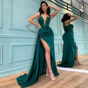 Dark Green Mermaid Pleated Evening Dresses Deep V Neck Side Split Prom Gowns Sweep Train Satin Formal Dress
