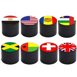 Flag Smoke Grinder 50MM Diameter Tobacco Crusher 4 Layer Zinc Alloy Mental Grinders Printed With National Flags Patterns DWF9103