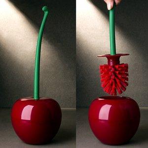 1Set Creative Lovely Cherry Shape Lavatory Brush Toilet Brush Holder Set For Washroom Clean Tools Household Bathroom Accessories 210329