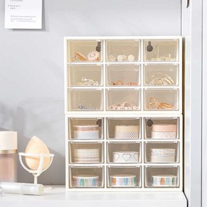 Hooqict 6   9 network jewelry box cosmetic storage container desktop stationery transparent plastic J0527