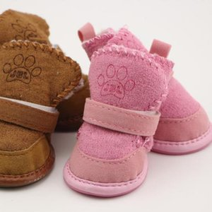 4pcs set Non-slip Dog Shoes Cotton Shoes Warm Pet Winter Soft Teddy Boots Thick Dog Bottom Snow Small For Waterproof Rplhp