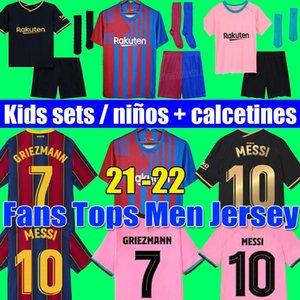 Camisas de futebol MESSI Barcelona BARCA FC 20 21 22 KUN AGUERO ANSU FATI 2021 2022 GRIEZMANN F.DE JONG COUNTINHO DEST malhas kit camisa homem crianças conjuntos meias