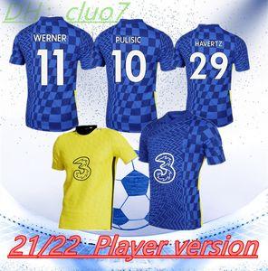 # 10 Pulisic Player 버전 홈 블루 축구 유니폼 2021/2022 남자 # 11 Werner Shirt 21/22 # 7 Kante # 9 Abraham # 19 Mount # 29 Havertz 축구 유니폼 사용자 정의
