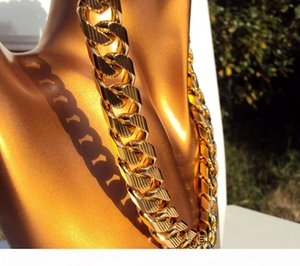 "Cuban Curb Chain 22K 23K 24K THAI BAHT GOLD GP NECKLACE 24"" Heavy 198 Grams Jewelry 4mm THICK TALL N16"