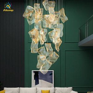Creative Irregular Chandeliers Light Guide LED Pendant Lights Acrylic Staircase Villa Hanging Lamp with stepless dimming remote control