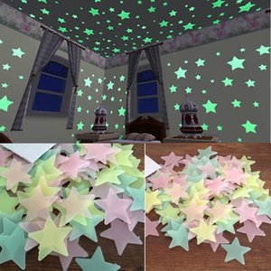 100pcs 3D Stars Glow In The Dark Wall Sticker Luminous Fluorescent Walls Stickers For Kids Baby Room Bedroom Mix Colors Ceiling Home Decor