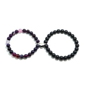 Beaded, Strands Minimalist Beaded Lover Bracelet Long Distance Attract Heart Magnet Braclet Natural Stone Handmade Evil Eye Braslet Mujer Jo