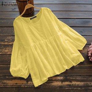 Mujer Blusa de primavera 2020 Zanzea Elegant Tops Hueco Casual Manga Larga Blusas Femenino Encaje Patchwork Tunic Tallas Tops Camiseta Q2HQ #