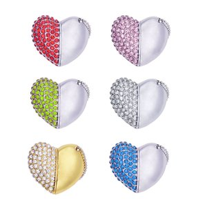 Bling Diamond beautiful heart pendrive Memory Stick USB Flash Drives disk Pen Drive Full Capacity 8GB 16GB 32GB 64GB Lover's gift