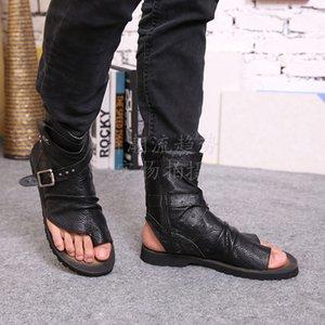 الصيف المصارع الصنادل للرجال أسود أبيض الكاحل جلد الرجال الشقق الأحذية الإيطالية الصنادل المسامير رجل النعال دراجة نارية الأحذية حجم 46