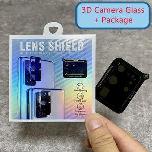3D غطاء كامل غطاء العدسة كاميرا خفف من الزجاج لآيفون 12 11 برو ماكس سامسونج غالاكسي S20 FE S21 بلس ملاحظة 20 Ultra A02S A12 A42 A52 A72 مع حزمة البيع بالتجزئة