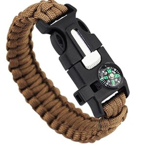 Paracord survival bracelets Outdoor Emergency Bracelet Professional Fashion Sports with Compass Fire Starter Emergency Whistle Knife Buckle
