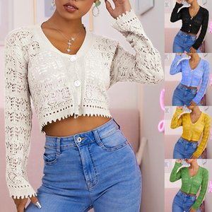 Women's Blouses & Shirts 2021 Autumn Cardigan Knitted Top Fashion Hollow Single Breasted Short Sweater Female Sexy Knit Solid Color