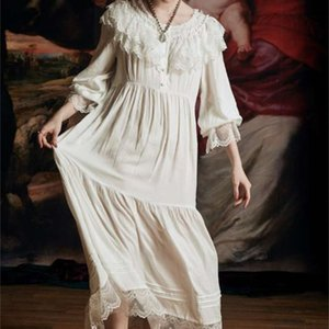 Vintage Nightdress Women Elegant Queen Night Gown Female Spring Summer Dress Retro lace Long Nightgown European Medieval Style