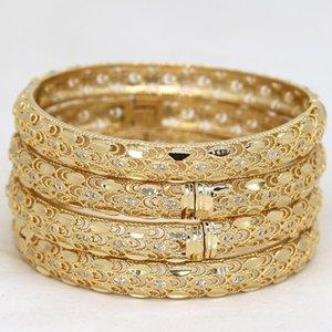 Bangle Dubai Bangles For Women Girl Rhinestones Jewelry 14k Gold Plated Africa Luxury Saudi Arab Bracelets Habesha Bride Gift