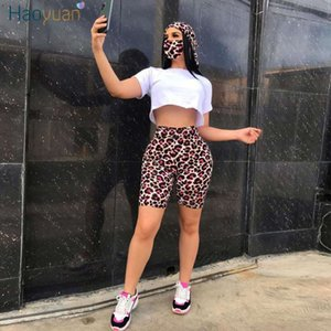 HAOYUAN Sexy Two Piece Set Women Tracksuit Summer Clothes Crop Top Biker Shorts Sweat Suits Lounge Wear Outfits Matching Sets