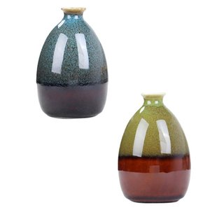 Vases 2pcs Mini Simple Ceramics Vase Tabletop Decorative Home Flower Container